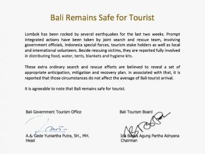 BALI REMAINS SAFE FOR TOURIST